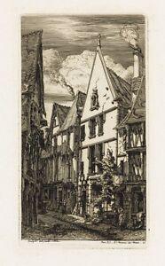 Framed Charles Meryon Paris Etching La Rue des Toiles, 1853 Original