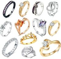 LADIES RINGS Dress Fashion Cluster Women Wedding Band Solitaire Ring Promise UK
