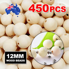 450pcs 12mm  Wooden Beads Natural Color Round Ball Wood Speacer Beads