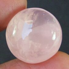 LARGE 12mm ROUND CABOCHON-CUT NATURAL BRAZILIAN ROSE-QUARTZ GEMSTONE