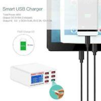 Schnellladung QC 3.0 Smart 6 Port USB Ladegerät Netzteil Station Display LC G7T8