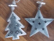 Nordic/Shabby Chic In Metallo Albero di Natale Natale Stella di Natale da appendere Decora