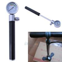 Bicycle Pump With Gauge High Pressure Meter Shock Hand Bike Air Inflator