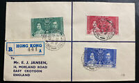 1937 Hong Kong First Day Cover FDC To England King George 6 KGVI Coronation