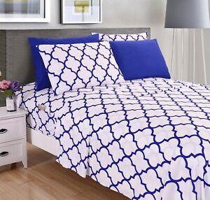 6-Piece Bed Sheet Set Quatrefoil Print  Collection w/ Deep Pockets