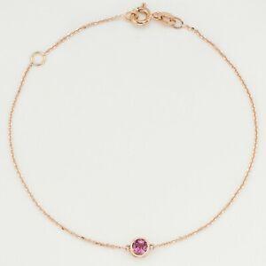 Birthstone/Natural Gem Pink Tourmaline 9K Solid Gold Bracelet(Made-By-Order)