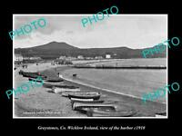 OLD LARGE HISTORIC PHOTO OF GREYSTONES WICKLOW IRELAND, VIEW OF HARBOUR c1910 1