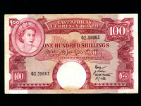 East Africa:P-40,100 Shillings,1958-60 * Queen Elizabeth II * VF *