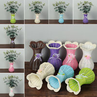 Home & Living Ornament Vase Rattan Woven Vase Floral Basket Artificial Flower
