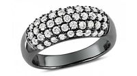 Black Gold on Solid 925 Silver Ladies Dome Ring Hallmarked Quality Gift UK