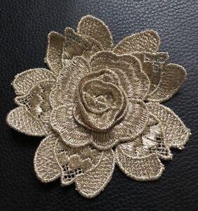 3D 2 Embroidered Metallic Gold Lace Flowers Motif Trim Applique Patch.