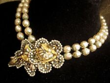 "Vintage Miriam Haskell 15"" baroque  pearl necklace & 1 matching clip earring."