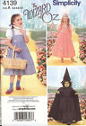 Sewing PATTERN Dorothy costume Simplicity 4139 Glenda Wizard of Oz sz 3-8 Witch