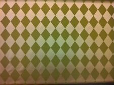 Quality Green & Gold Satin Diamond Pattern Fabric - Curtains, Upholstery, Blinds