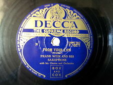 """78 rpm 10"""" FRANK WEIR from your lips / happy wanderer"""