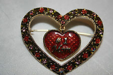 #1 Mom Brooch With Red Heart And Rhinestone Accents