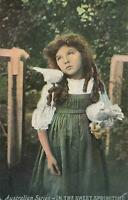 VINTAGE YOUNG GIRL IN the SWEET SPRINGTIME Australian Series POSTCARD Emmaville