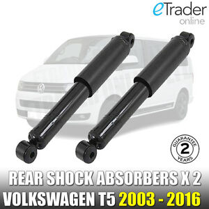 VW T5 Rear Gas Shock Absorbers 2 Shockers Dampers Transporter Inc T5.1 2003-2016