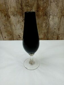 PRETTY SMALL 18CM BLOOD RED ALMOST BLACK GOTH VAMP GLASS VASE WITH CLEAR STEM
