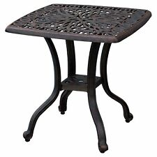 Outdoor End Table Patio Furniture Cast Aluminum Metal Bronze Side Accent Stool