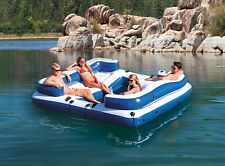 Inflatable Floating Island Party Lounge Water Raft Float 5 Seat River Lake Pool