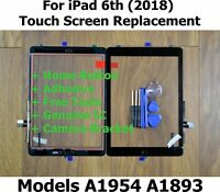 For iPad 6th 2018 A1893 A1954 BLACK Touch Screen Glass Replacement & Home Button