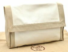 Authentic HERMES Tapidocell Clutch Bag Canvas Leather Ivory Beige A3572
