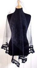 NEW MANTILLA BLACK TULLE LACE TRIM HEADCOVER LATIN MASS VEIL CHURCH SCARF 28x65""