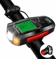 Bike Light Set with Bike Speedometer,USB Rechargeable Bicycle Computer with Loud