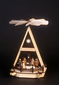 Krippe-Pyramide Weihnachtspyramide Christi Geburt natur-Gläßer Seiffen  Erzgeb.