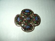 Vintage SARAH COVENTRY Goldtone & Blue-Green-Red Cabochon Stones Brooch Pin