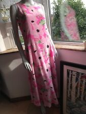 French Connection Pink Poppies Silk Maxi Dress UK 10 £170 LMT Lined with POCKETS