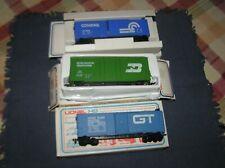 Lionel HO 3 Box Cars, Conrail, Burlington Northern, Grand Trunk, Boxed