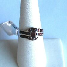 .925 Sterling Silver w/Platinum GARNET Ring, Size 7, New w/o Tag