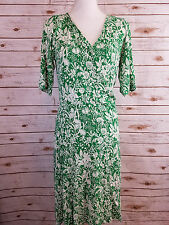 Cabi Womens Faux Wrap Dress Green White Floral Flower V Neck Size Large