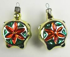 2 Vintage Russian USSR Silver Glass Christmas X-mas Tree Ornaments Decorations