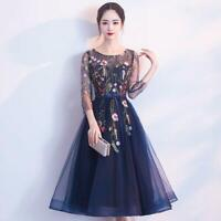 Women Embroidered Long Dress Lace Mesh Cocktail Formal Evening Party Dresses Hot