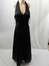 FLIP ! Black Sequins V Neck Halter Formal Prom Dress,Cruise Floor Length,Sz 3/4