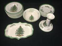 "SPODE ""Christmas Tree"" Saucers Bread Specialty Bowl White Green Red Holiday"