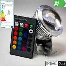 RGB LED Spot/Strahler wasserfest 10W 800Lm inkl. IR Fernbedienung (IP64)