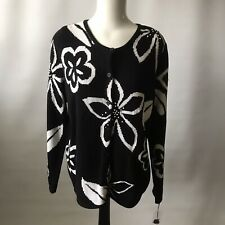 SKYR USA Ladies Cardigan Ramie / Cotton Chunky Knit Embroidered Black White XL