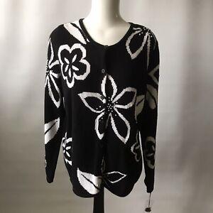 SKYR USA Ladies Cardigan Ramie / Cotton Chunky Knit Embroidered Black White XL
