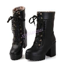 Ladies Lace Up Platform Chunky Heel Mid Calf Gothic Punk Boots Sweet Stylish NEW