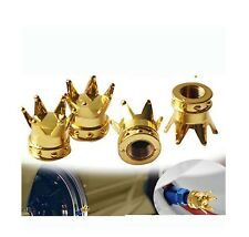 Gold Princess Queen King Crown Metal Tyre Valve Wheel Dust Caps x4 BMX JDM
