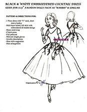 """BARBIE & similar 11.5"""" doll Grace Kelly REAR WINDOW Black & White Dress  PATTERN"""