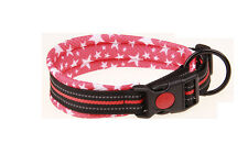 Buckle Lock Reflective Dog Collar Soft Air Mesh Dog Puppy Collars 5 Sizes Pink