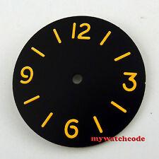 34.5mm black sterile dial orange marks fit ETA 6497 movement Watch Dial D48