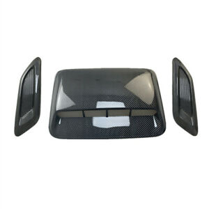 Car Hood Scoop Center&Side Intake Air Flow Vent Decorative Covers 3Pcs Plastic