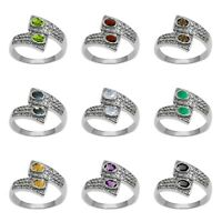 Open Wrap Ring| 925 Sterling Silver Natural Gemstone Ring| Women Eternity Ring|