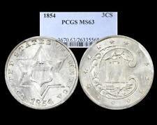 1854 THREE CENT SILVER~ PCGS MS 63 !! NICE BRIGHT WHITE!!